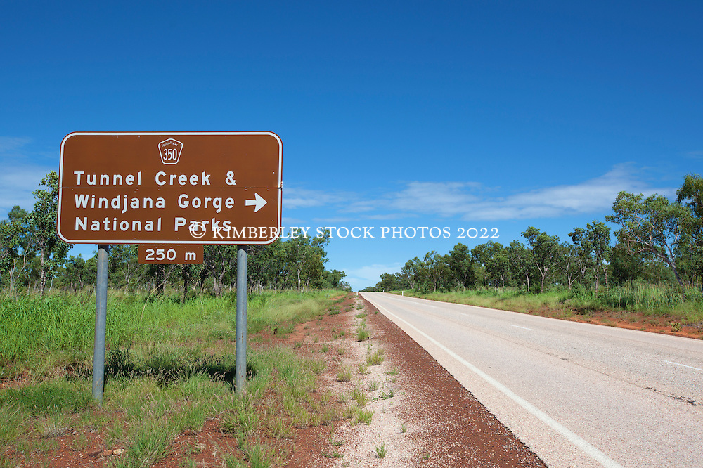 Roadsign marking the turnoff to Windjana Gorge and Tunnel Creek on the highway from Fitzroy Crossing.