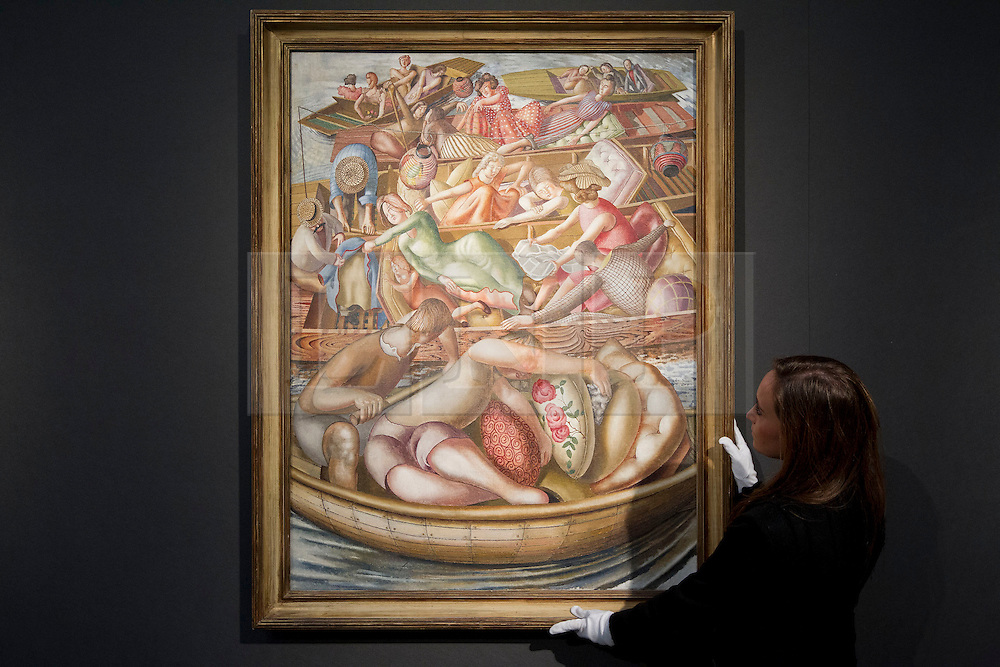 """© Licensed to London News Pictures. 18/11/2013. London, UK. A member of Christie's staff adjusts British artist Sir Stanley Spencer's 1955 painting """"Christ Preaching at the Cookham Regatta: Conversation Between Punts""""  (est. GB£3,000,000 - 5,000,000) at the press view for a sale of modern British and Irish art at Christie's St James' auction house in London today (18/11/2013). The sale is set to take place on Wednesday the 20th and Thursday the 21st of November 2013. Photo credit: Matt Cetti-Roberts/LNP"""