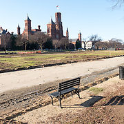 Renovations on a section of the eastern end of the National Mall in Washington DC. The Smithsonian Castle is in the background at left.