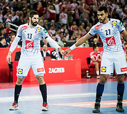 Nikola Karabatic of France and Adrien Dipanda of France during handball match between National teams of Croatia and France on Day 7 in Main Round of Men's EHF EURO 2018, on January 24, 2018 in Arena Zagreb, Zagreb, Croatia.  Photo by Vid Ponikvar / Sportida