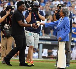 October 24, 2017 - Los Angeles, California, U.S. - Racheal Robinson widow of Jackie Robinson tossed out the ceremonial prior to game one of a World Series baseball game against the Houston Astros at Dodger Stadium on Tuesday, Oct. 24, 2017 in Los Angeles. (Credit Image: © San Gabriel Valley Tribune via ZUMA Wire)