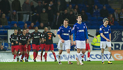 CARDIFF, WALES - Tuesday, February 1, 2011: Cardiff City's players look dejected after Reading's Mathieu Manset scores in injury time to make it 2-1 during the Football League Championship match at the Cardiff City Stadium. (Photo by Gareth Davies/Propaganda)