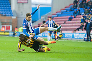 Yanic Wildschut of Wigan Athletic is fouled by Jermaine Grandison of Shrewsbury Town during the Sky Bet League 1 match at the DW Stadium, Wigan<br /> Picture by Matt Wilkinson/Focus Images Ltd 07814 960751<br /> 21/11/2015