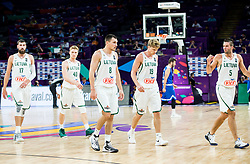 Jonas Valanciunas of Lithuania, Marius Grigonis of Lithuania, Jonas Maciulis of Lithuania, Mindaugas Kuzminskas of Lithuania and Mantas Kalnietis of Lithuania during basketball match between National Teams of Lithuania and Greece at Day 10 in Round of 16 of the FIBA EuroBasket 2017 at Sinan Erdem Dome in Istanbul, Turkey on September 9, 2017. Photo by Vid Ponikvar / Sportida