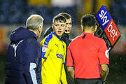 AFC Wimbledon midfielder Finlay Macnab (34) comes on as a substitute during the EFL Trophy match between Southend United and AFC Wimbledon at Roots Hall, Southend, England on 13 November 2019.