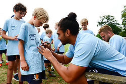 Chris Vui signs autographs for fans at the Bristol Bears Community Foundation Summer Holiday Camp at Old Bristolians RFC - Mandatory by-line: Dougie Allward/JMP - 15/08/2018 - Rugby