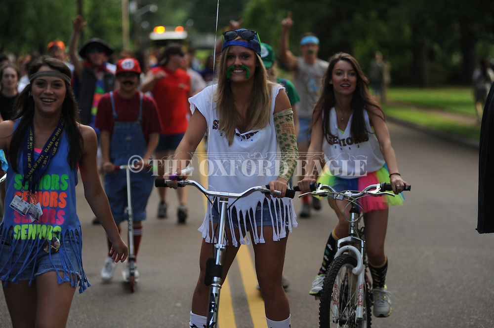 Oxford High seniors participate in the annual senior parade to the school in Oxford, Miss. on Wednesday, May 9, 2012.