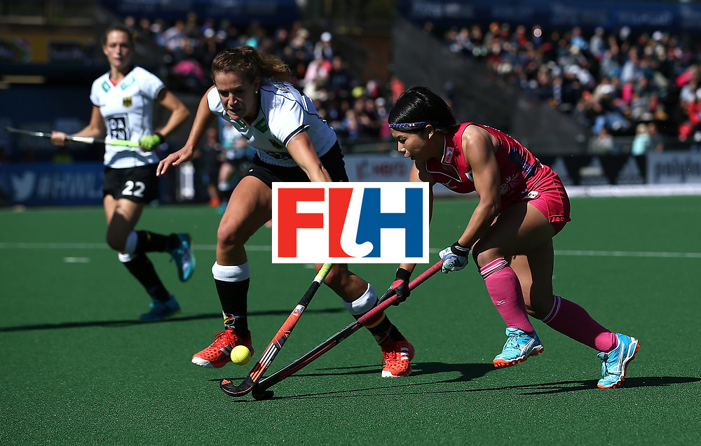JOHANNESBURG, SOUTH AFRICA - JULY 16:  Janne Muller-Wieland of Germany battles with Akiko Kato of Japan during day 5 of the FIH Hockey World League Women's Semi Finals Pool A match between Japan and Germany at Wits University on July 16, 2017 in Johannesburg, South Africa.  (Photo by Jan Kruger/Getty Images for FIH)