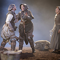 Picture shows :  (l-r)  Jayd Johnson as Liza, Wendy Seager as Sara Pauline Lockhart as Maggie and (far right).<br /> Bondagers <br /> By Sue Glover<br /> Directed by Lu Kemp<br /> &quot;Redd up the stables, muck out the byre, plant the tatties, howk the tatties, clamp the tatties... Shear, stook, striddle, stack. Women's work.&quot;<br /> A true classic of modern Scottish Theatre, and a haunting evocation of a lost way of life, Sue Glover&rsquo;s lyrical play with music and song follows six women land workers as they graft and dance their way through a year on a 19th Century Borders farm.<br /> Every ploughman had to provide a woman (a bondager) to work on the farm. If his wife was too busy with family, he hired a woman to work the fields and lodge in his home. Following these women&nbsp;through the passing of the seasons, we feel the rhythm of the land and the harshness, humour, hope and tragedy of those who worked upon it.&nbsp;<br /> Picture : Drew Farrell<br /> Tel : 07721 -735041<br /> www.drewfarrell.com<br /> <br /> <br /> For Further information please contact Michelle Mangan Press and PR Manager, Royal Lyceum Theatre Edinburgh <br /> Main Line: 0131 248 4800| Direct Line: 0131 248 4822<br /> <br /> Image is free to use in connection of the promotion of 'Bondagers' and  The Lyceum Theatre Permissions for ALL other uses needs to be sought and payment make be required.<br /> <br /> Opens at The Royal Lyceum Theatre, Edinburgh<br /> 22 October to 15 November 2014<br /> CAST <br /> Cath Whitefield - Tottie <br /> Pauline Lockhart - Maggie <br /> Wendy Seager - Sara <br /> Jayd Johnson - Liza <br /> Charlene Boyd - Jenny <br /> Nora Wardell - Ellen <br /> CREATIVE TEAM <br /> Director   Lu Kemp <br /> Designer Jamie Vartan <br /> LX Designer   Simon Wilkinson <br /> Composer/Sound Designer - Michael John McCarthy<br /> Voice - Ros Steen<br /> Lu Kemp has recently has directed Don Quixote at &Ograve;ran M&oacute;r, and Arabian Nights at the Tricycle Theatre. We ar