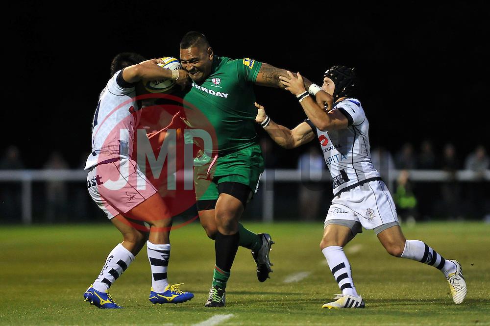 Halani Aulika (London Irish) takes on the Bristol defence - Photo mandatory by-line: Patrick Khachfe/JMP - Mobile: 07966 386802 22/08/2014 - SPORT - RUGBY UNION - Middlesex - Hazelwood - London Irish v Bristol Rugby - Pre-Season Friendly