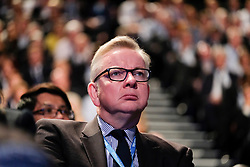 (c) Licensed to London News Pictures. <br /> 03/10/2017<br /> Manchester, UK<br /> <br /> Michael Gove MP listens to speeches at the Conservative Party Conference held at the Manchester Central Convention Complex.<br /> <br /> Photo Credit: Ian Forsyth/LNP