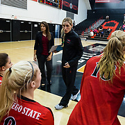 21 October 2017:  The San Diego State women's volleyball team took on Utah State Saturday afternoon. The Aztecs beat the Aggies 3-1.<br /> www.sdsuaztecphotos.com