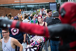 © Licensed to London News Pictures . 30/07/2017 . Manchester , UK . Cosplayers, families and guests at Comic Con at the Manchester Central Convention Centre . Photo credit : Joel Goodman/LNP
