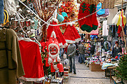 Christmas decorations at the market in Nazareth, Israel