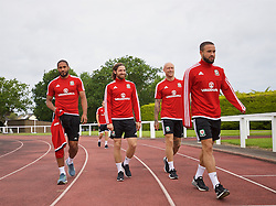 DINARD, FRANCE - Tuesday, June 28, 2016: Wales' captain Ashley Williams, Joe Ledley, David Cotterill and Ashley 'Jazz' Richards during a training session at their base in Dinard as they prepare for the Quarter-Final match against Belgium during the UEFA Euro 2016 Championship. (Pic by David Rawcliffe/Propaganda)