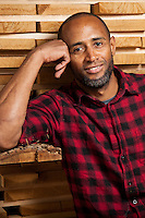 Jermain Todd is the owner/artisan of Mwanzi, an eco-conscious boutique woodshop in the St. Louis neighborhood of Benton Park. He was photographed at WunderWoods, an independent lumber company in St. Charles, MO.