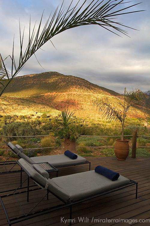 Africa, Morocco, Asni. Richard Branson's Kasbah Tamadot luxury retreat in the Atlas Mountains.