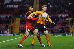 Bristol City Defender Liam Fontaine (ENG) shoves Wolves Forward Kevin Doyle (IRL) during the second half of the match - Photo mandatory by-line: Rogan Thomson/JMP - Tel: Mobile: 07966 386802 01/12/2012 - SPORT - FOOTBALL - Ashton Gate - Bristol. Bristol City v Wolverhampton Wanderers - npower Championship.