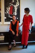 STEFANIA PRAMMA; VALERIA NAPOLEONE, Stefania Pramma launched her handbag brand PRAMMA  at the Kensington residence of her twin sister, art collector Valeria Napoleone.. London.  29 April 2015