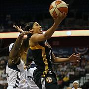 Skylar Diggins, Tulsa Shock, drives to the basket during the Connecticut Sun Vs Tulsa Shock WNBA regular season game at Mohegan Sun Arena, Uncasville, Connecticut, USA. 3rd July 2014. Photo Tim Clayton