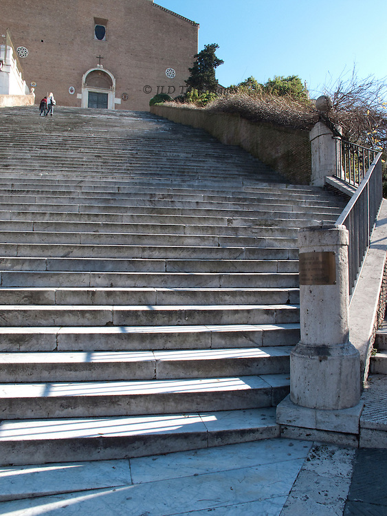Stairway up to the church of Santa Maria in Ara Coeli, on the Capitoline Hill, Rome.  It is a very long stairway.