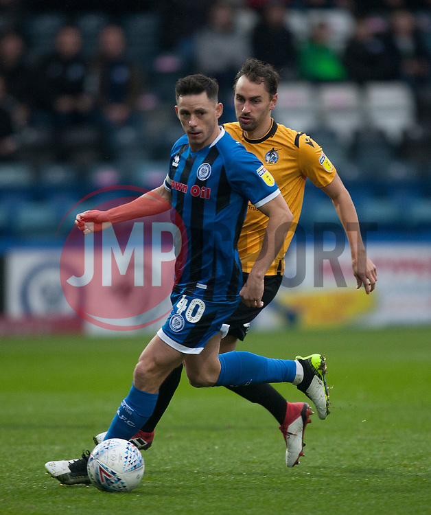 Ian Henderson of Rochdale (L) and Edward Upson of Bristol Rovers in action - Mandatory by-line: Jack Phillips/JMP - 02/11/2019 - FOOTBALL - Crown Oil Arena - Rochdale, England - Rochdale v Bristol Rovers - English Football League One