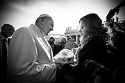Vatican City dec 16th 2015, weekly general audience. In the picture pope Francis receives a cake for his birthday, by mexican journalist Valentina Alazraki