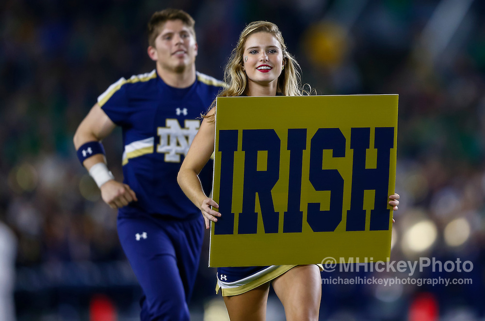 SOUTH BEND, IN - OCTOBER 15: A Notre Dame Fighting Irish cheerleader is seen during the game against the Stanford Cardinal at Notre Dame Stadium on October 15, 2016 in South Bend, Indiana. Stanford defeated Notre Dame 17-10. (Photo by Michael Hickey/Getty Images)