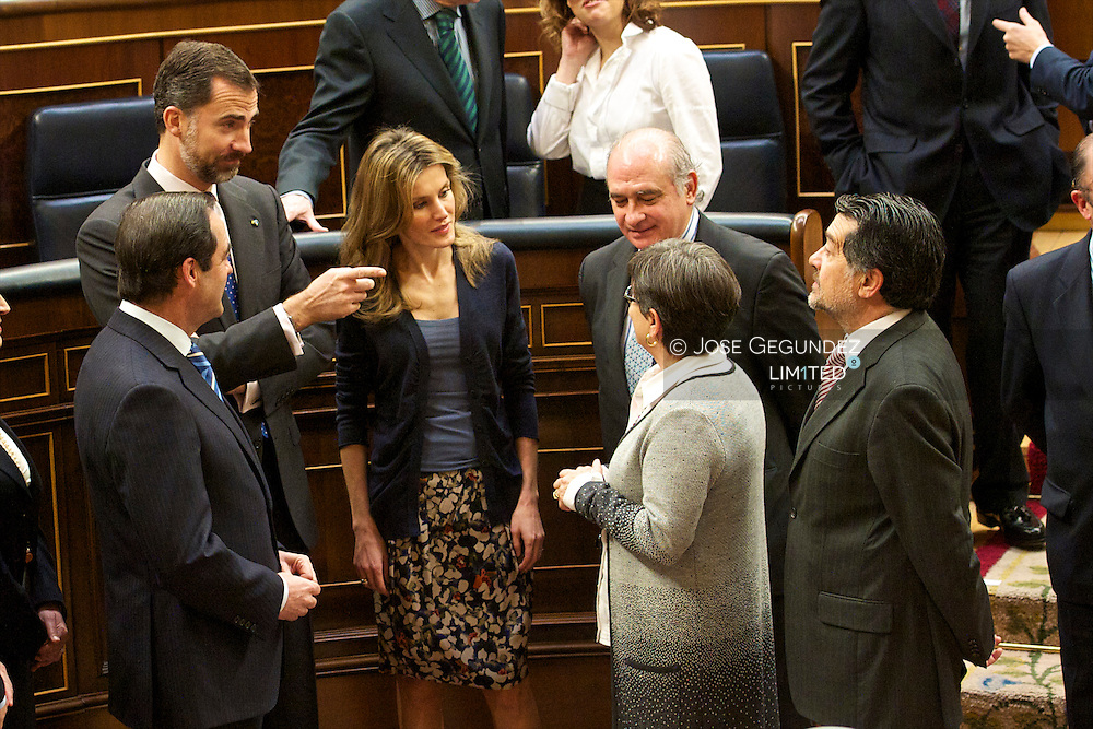 Prince Felipe and Princess Letizia attend the Lunch with the Speakers Bureau and Board of the Congress of Deputies on the occasion of the XXV Anniversary of the Jura of the Constitution by His Royal Highness the Prince of Asturias at The Congress of Deputies in Madrid