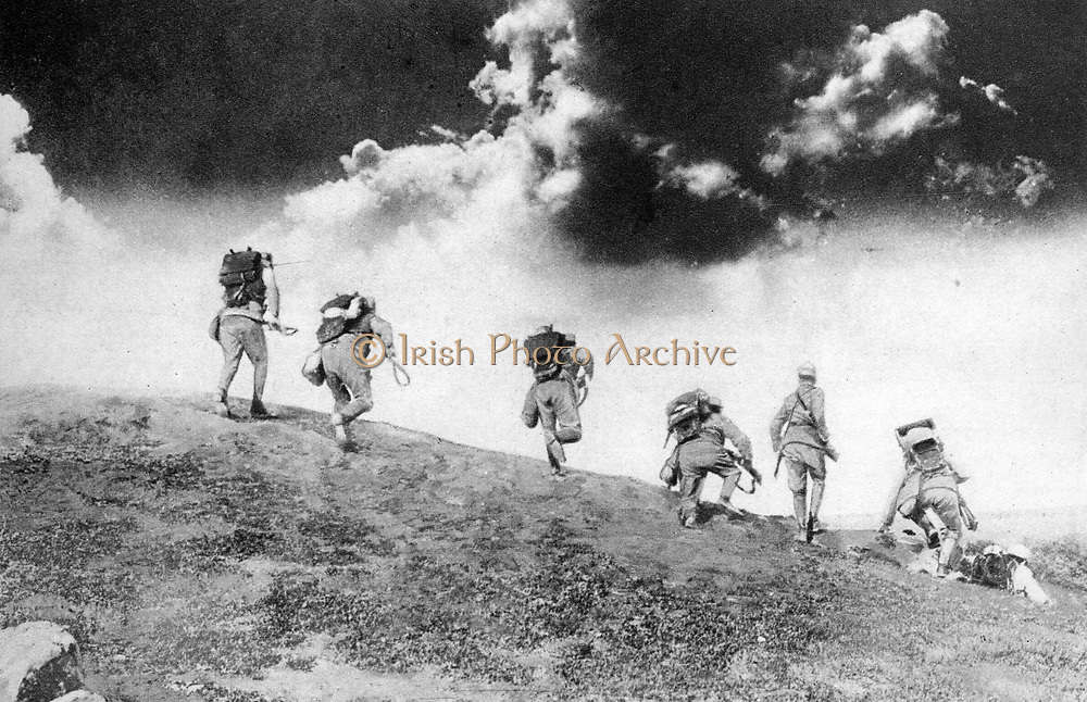 Austrian soldiers charging down on an Italian patrol.