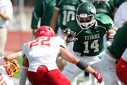 19 September 2015:  Artie Checchin prepares to stiff arm Justin Sheperd during an NCAA division 3 football game between the Simpson College Storm and the Illinois Wesleyan Titans in Tucci Stadium on Wilder Field, Bloomington IL