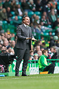 14th October 2017, Celtic Park, Glasgow, Scotland; Scottish Premiership football, Celtic versus Dundee; Celtic manager Brendan Rodgers tells his team to settle down