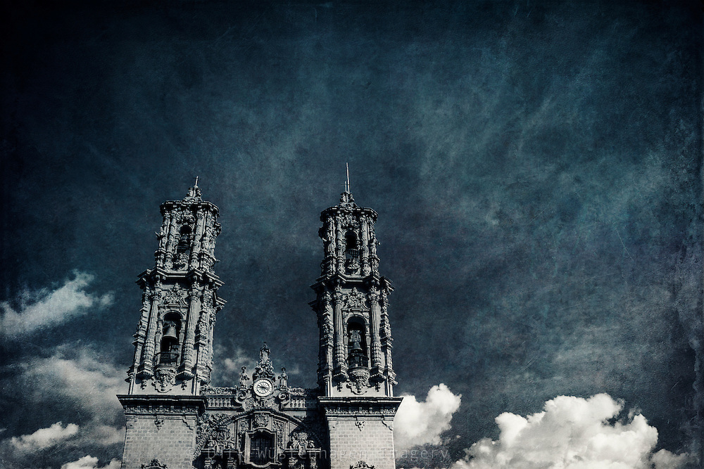 Sta Prisca Bell Towers-Taxco_México<br /> texturized photograph