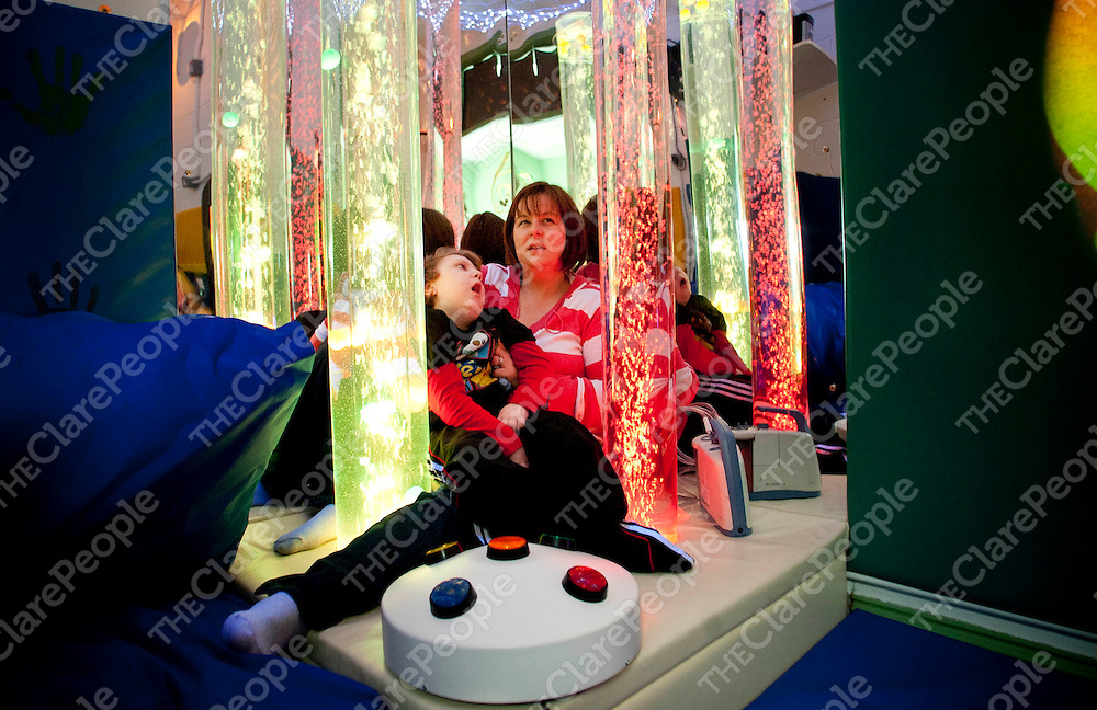 21.03.12 <br /> St. Clares School, Ennis has installed new sensory rooms to the school. Our pictures shows Darragh and Barbara Travers, St. Clares enjoying the the experience of the sensory room.<br /> Pic. Alan Place / Press 22