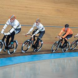 19-02-2020: Wielrennen: persmoment KNWU: Alkmaar<br />De teamsprinters, Mathijs Buchli, Harry Lavreijsen, Jeffrey Hoogland, Roy van den Berg