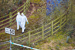 © Licensed to London News Pictures. 05/02/2017. HIGH WYCOMBE, UK.  Forensic officers investigate the scene where human remains where found yesterday (Sat). A routine Thames Valley Police patrol made the grisly find on a slip road between the A404 and M40 motorway at the Handy Cross Roundabout which is likely to remain closed until tomorrow (Mon). Police are currently treating the death as unexplained.   Photo credit: Cliff Hide/LNP