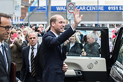 © Licensed to London News Pictures . 14/09/2017 . Liverpool , UK . The Duke of Cambridge , Prince William , waves to crowds following a visit to Life Rooms in Walton . Life Rooms provides community support to help people recover from mental health issues . Photo credit : Joel Goodman/LNP