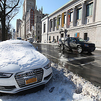 Near empty streets and sidewalks are seen by Central Park in the Manhattan borough of New York on Thursday, Jan. 23, 2014. A recent snow storm created by a polar vortex, dumped almost a foot of snow in some areas of New York City, followed by bitter cold. The NFL plans on featuring the Super Bowl at MetLife stadium in New Jersey on February 3rd amid growing concerns about more snow and bitter cold arriving just prior to the game.  (AP Photo/Alex Menendez)