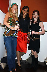 Left to right, EMMA NOWELLI, HARSHA GOPOL and singer CASSIE COMPTON who was a finalist in TV's X factor at a party to celebrate the opening in London of Delhi's finest Indian restaurant Moti Mahal at 45 Great Queen Street, London WC2 on 27th July 2005.<br />