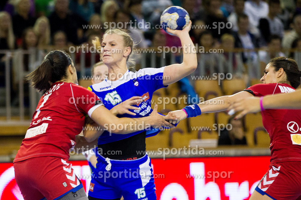Barbara Varlec Lazovic of Slovenia vs Andrea Lekic of Serbia during handball match between Women National teams of Slovenia and Serbia in 2nd Round of Qualifications for 2014 EHF European Championship on October 27, 2013 in Hala Tivoli, Ljubljana, Slovenia. (Photo by Vid Ponikvar / Sportida)