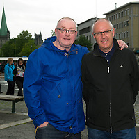 Rosenborg v St Johnstone....17.07.13  UEFA Europa League Qualifier.<br /> St Johnstone fans in Trondheim..Pictured from left Stuart Cosgrove and Mike Mason<br /> Picture by Graeme Hart.<br /> Copyright Perthshire Picture Agency<br /> Tel: 01738 623350  Mobile: 07990 594431