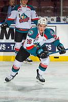 KELOWNA, BC - JANUARY 09: Liam Kindree #26 of the Kelowna Rockets warms up against the Everett Silvertips  at Prospera Place on January 9, 2019 in Kelowna, Canada. (Photo by Marissa Baecker/Getty Images)