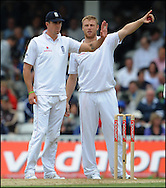 Kevin Pietersen and Andrew Flintoff on the third day of the fourth Test at the Oval with on the 9th of August 2008..England v South Africa.Photo by Philip Brown.www.philipbrownphotos.com