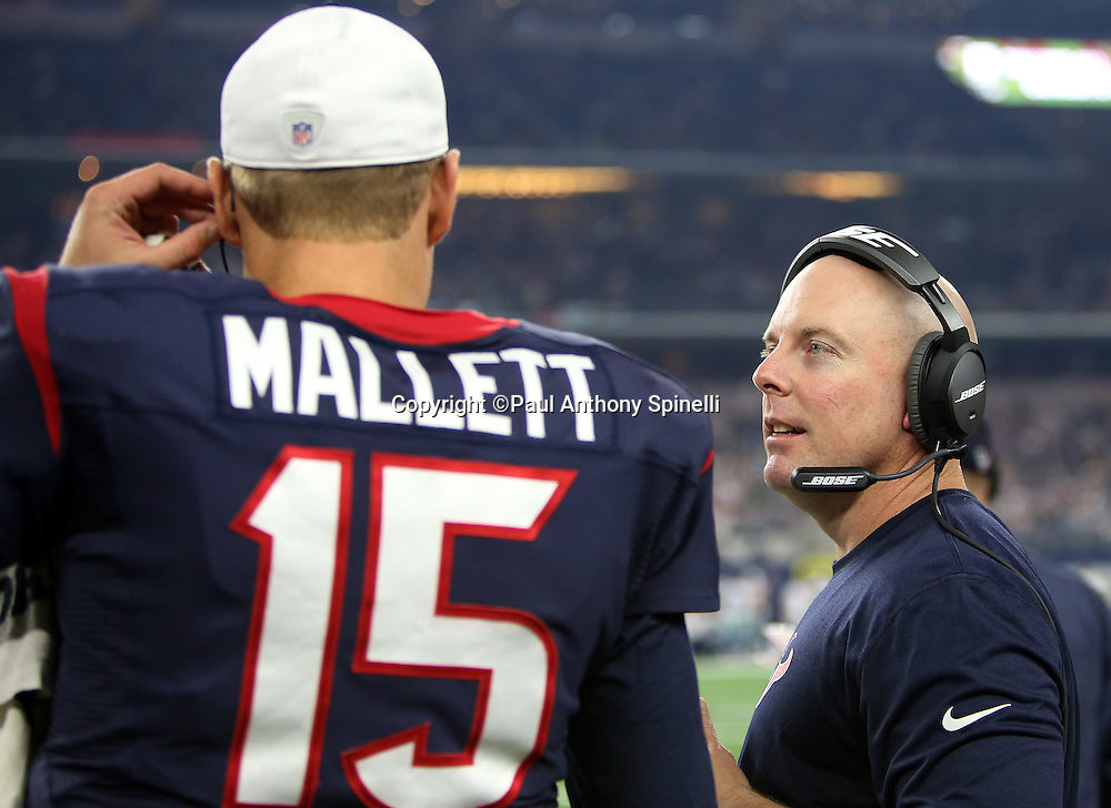 Houston Texans offensive coordinator George Godsey talks to Houston Texans quarterback Ryan Mallett (15) on the sideline during the 2015 NFL preseason football game against the Dallas Cowboys on Thursday, Sept. 3, 2015 in Arlington, Texas. The Cowboys won the game 21-14. (©Paul Anthony Spinelli)