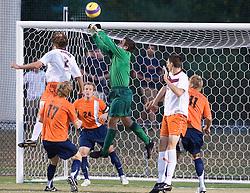 Virginia Cavaliers GK Michael Giallombardo (1) makes a save.  The #4 ranked Virginia Cavaliers men's soccer team tied the Virginia Tech Hokies 1-1 at Klockner Stadium in Charlottesville, VA on September 28, 2007.