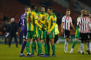 West Brom players celebrate at full time during the EFL Sky Bet Championship match between Sheffield United and West Bromwich Albion at Bramall Lane, Sheffield, England on 14 December 2018.