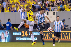 September 11, 2018 - East Rutherford, NJ, U.S. - EAST RUTHERFORD, NJ - SEPTEMBER 11: Colombia midfielder Wilmar Barrios (5)  battles with Argentina midfielder Gonzalo Martinez (7) during the first half of the International Friendly Soccer match between Argentina and Colombia on September 11, 2018 at MetLife Stadium in East Rutherford, NJ. (Photo by John Jones/Icon Sportswire) (Credit Image: © John Jones/Icon SMI via ZUMA Press)