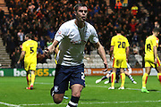 Preston North End Defender Paul Huntington celebrates during the Sky Bet Championship match between Preston North End and Rotherham United at Deepdale, Preston, England on 2 January 2016. Photo by Pete Burns.
