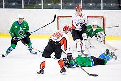 Luka Basic of HK SZ Jesenice vs Robert Kristan of HK SZ Olimpija during ice hockey match between HK SZ Olimpija and HDD SIJ Acroni Jesenice in AHL - Alps Hockey League 2017/18, on October 25, 2017 in Hala Tivoli, Ljubljana, Slovenia. Photo by Matic Klansek Velej / Sportida