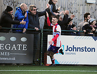 Football - 1919 / 2020  Dorking Wanderers v Fylde FA Trophy R3<br /> <br /> James Mcshane (11) celebrates his first half goal with the fans of Dorking<br /> <br /> <br /> Credit : Colorsport / Andrew Cowie